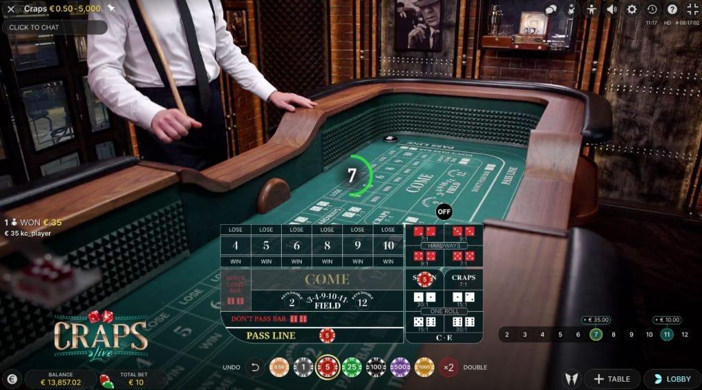 Evolution Live Craps - Nu i live casinot!